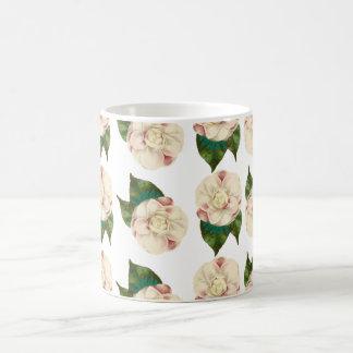 Pink white camellia pattern. magic mug