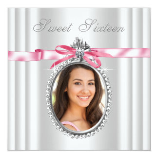 Pink White Cameo Photo Sweet 16 Birthday Party Card