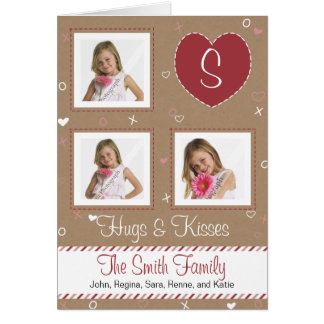 Pink White Candy Stripe, Brown Paper & Stitching Card