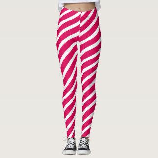 Pink & White Candy Stripes Leggings