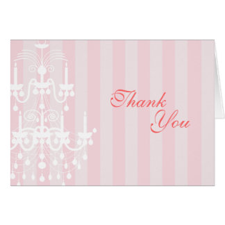 Pink & White Chandelier Striped Thank You Note Car Note Card