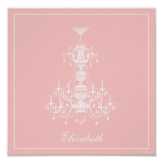 Pink & White Chandelier with Name Customizable Poster