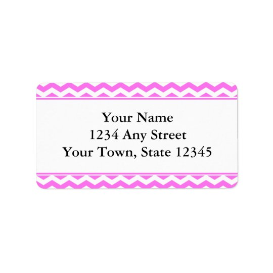 Pink & White Chevron Envelope Address Labels