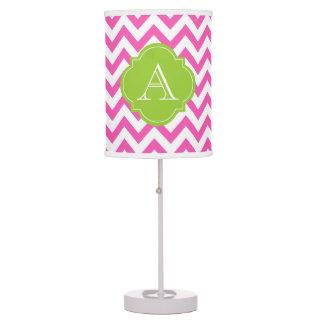Pink & White Chevron Green Monogram Table Lamp
