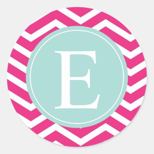 Pink White Chevron Mint Teal Monogram Classic Round Sticker