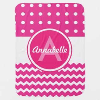 Pink White Chevron Monogram Personalized Baby Blanket