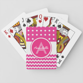 Pink White Chevron Monogram Personalized Playing Cards