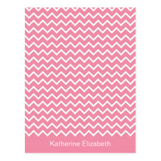 Pink & White Chevron Personalized Flat Note Card Postcard