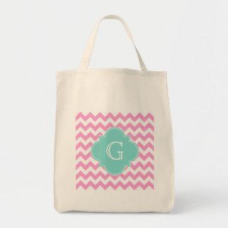 Pink White Chevron Zigzag Aqua Quatrefoil Monogram Tote Bag