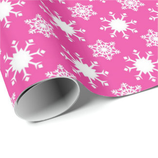 Pink white Christmas snowflake pattern party wrap Wrapping Paper