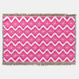 Pink & White Christmas Snowflakes Chevron Pattern Throw Blanket