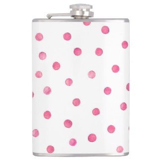 Pink White Confetti Dots Pattern Flask