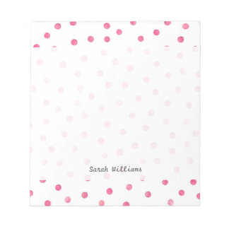 Pink White Confetti Dots Pattern Notepad