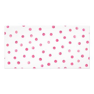 Pink White Confetti Dots Pattern Photo Cards