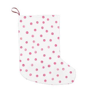 Pink White Confetti Dots Pattern Small Christmas Stocking