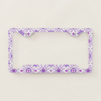 Pink White Curly License Plate Frame