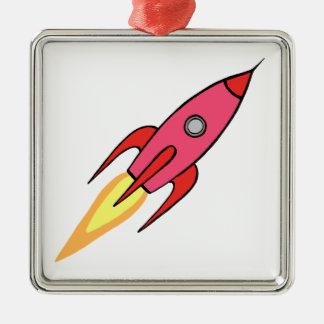Pink & White Cute Retro Rocketship Cartoon Design Silver-Colored Square Ornament