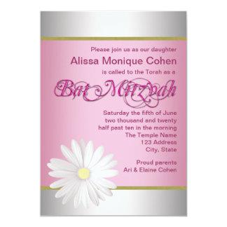 Pink White Daisy Bat Mitzvah Invitations