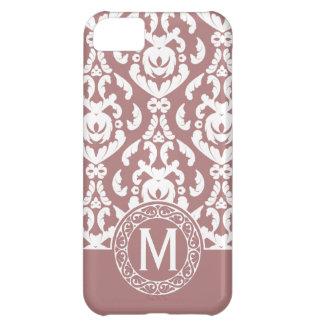 Pink White Damask Monogram iPhone 5C Cover