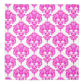 Pink & White Damask Pattern Chic Elegant Trendy Duvet Cover