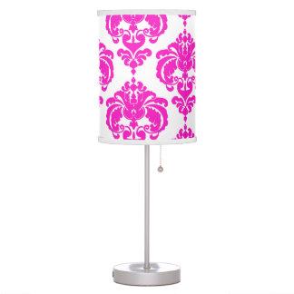 Pink & White Damask Pattern Chic Elegant Trendy Table Lamp