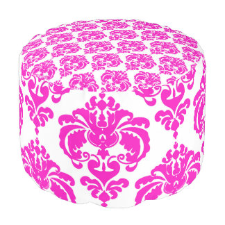 Pink & White Damask Pattern Modern Elegant Chic Pouf