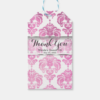 Pink & White Damask Vintage Wedding Event Favor Gift Tags