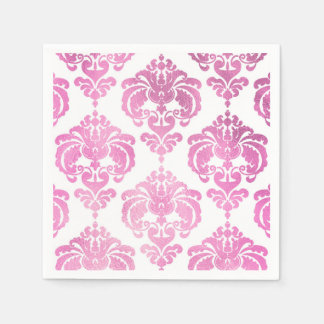 Pink & White Damask Vintage Wedding Event Party Disposable Napkins
