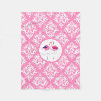 Pink & White Damasks With Pink And Blue Flamingos Fleece Blanket