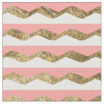 Pink, White, & Faux Gold Zigzag Stripes Fabric