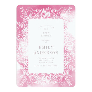 Pink & White Floral baby shower Invitation