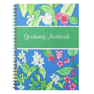 Pink, White Floral Customizable Gardening Notebook