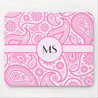 Pink White Floral Pattern Mouse Pad