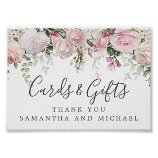 Pink White Floral Wedding Cards and Gifts Sign