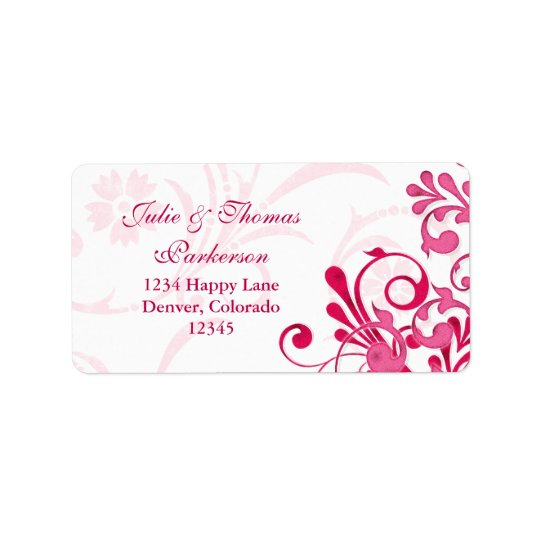 Pink White Floral Wedding Return Address Label