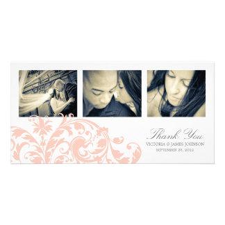 PINK & WHITE FLOURISH   WEDDING THANK YOU CARD PHOTO GREETING CARD
