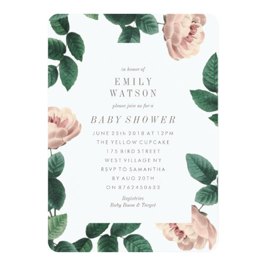 Pink & White Flower Frame Baby Shower Invitation