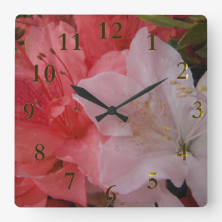 pink & white flower square wall clock