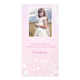 Pink, White Flowers, Religious Photo Card