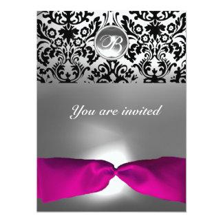 "PINK WHITE FUCHSIA DAMASK GEM STONE MONOGRAM 6.5"" X 8.75"" INVITATION CARD"
