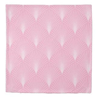 Pink & white geometric art-deco seamless pattern duvet cover