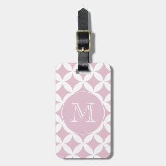 Pink White Geometric Pattern Custom Monogram Luggage Tag