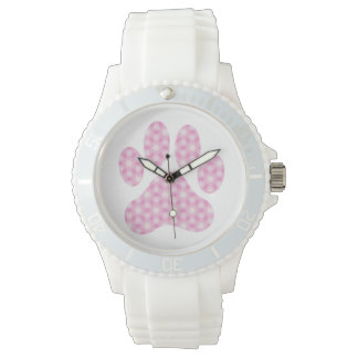 Pink White Geometric Pattern Paw Print Watch