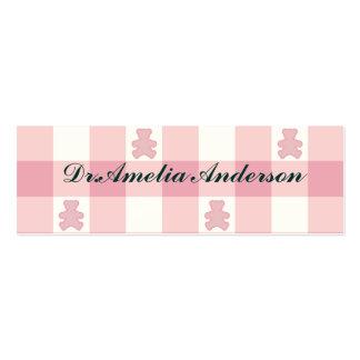 Pink white gingham, Kawai teddybears,trendy,girly, Pack Of Skinny Business Cards