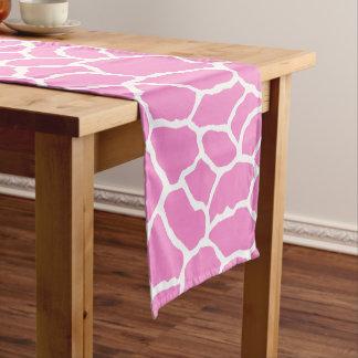 Pink White Giraffe Skin Pattern Short Table Runner