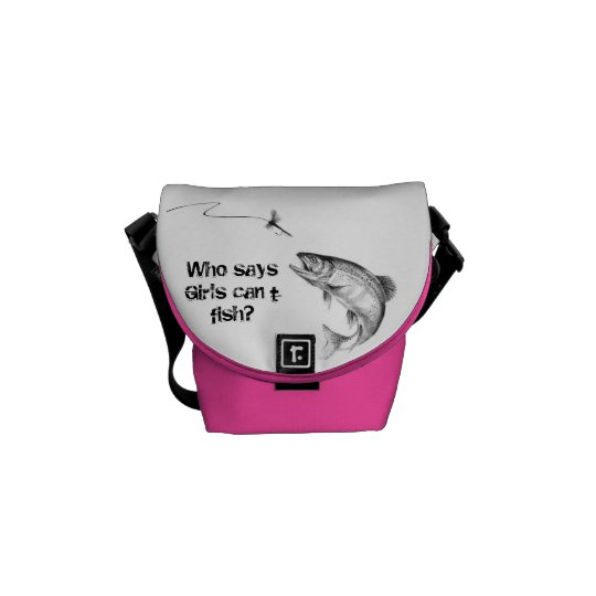 Pink & White Girls Fly Fishing Mini Messenger Courier Bags