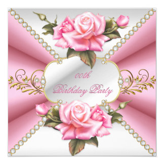 "Pink White Gold Beautiful Birthday Party 5.25"" Square Invitation Card"