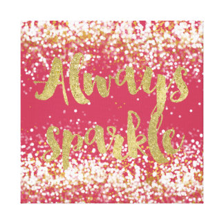 Pink White Gold Confetti Sparkle Canvas Print