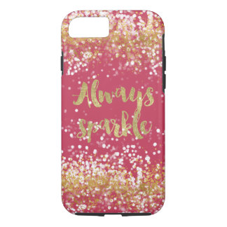 Pink White Gold Confetti Sparkle iPhone 8/7 Case