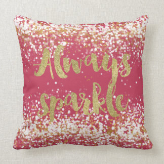 Pink White Gold Confetti Sparkle Throw Pillow